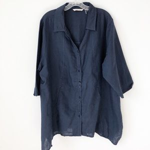 Soft Surroundings Linen Blend Navy Shirt